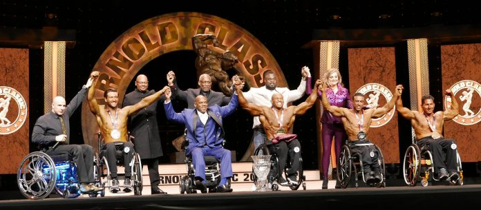 Arnold Classic Wheelchair winner Harold Kelley center with the entire 2020 division Photo by Terry Eiler