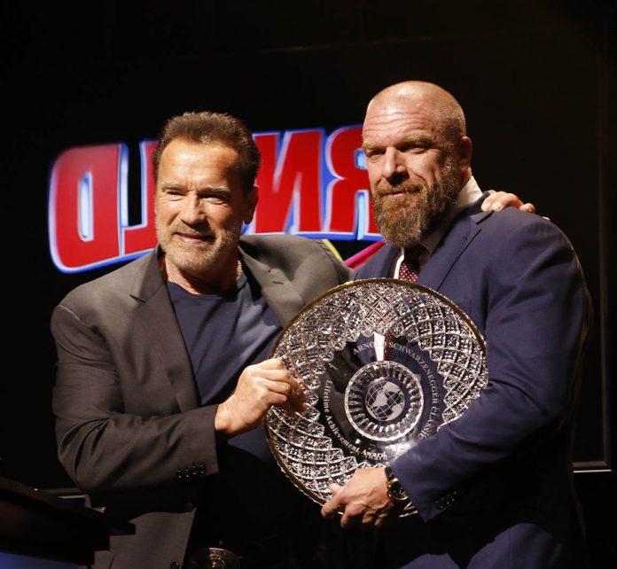 Lifetime Acheivement Award winner Triple H Paul Levesque with Gov. Arnold Schwarzenegger Photo by Dave Emery